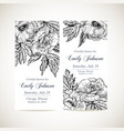 set of invitation cards with vintage flowers vector image