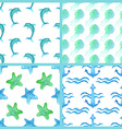Set of watercolor marine seamless patterns vector image vector image