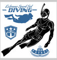 set scuba diver silhouette and diving labels vector image vector image