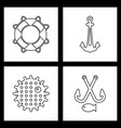 set sea icons vector image vector image