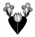 seven black and white minimalistic tulips vector image vector image