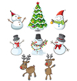 Snowmen reindeers and a christmas tree vector image
