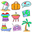 summer holiday element doodle style vector image vector image