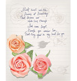 vintage postcard with roses and lettering vector image vector image