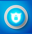 white shield security with lock icon isolated vector image vector image