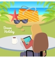 Woman Sitting with Gadget and Dreaming About Rest vector image vector image