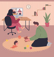 young family working remotely during quarantine vector image vector image