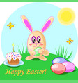 easter rabbit eggs and cake vector image
