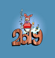 2019 happy new year pig costume penguin vector image