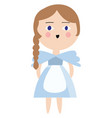 alice in a blue dress color on white background vector image vector image