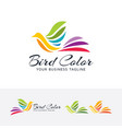 bird color logo design vector image vector image