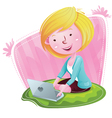 Blogger Girl with Laptop vector image