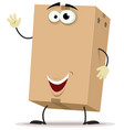 cartoon cardboard delivery character vector image vector image