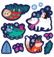 christmas set with cute animals labels emblems vector image vector image