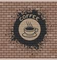 coffee symbol in brick wall vector image
