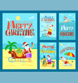 collection cards merry christmas with santa vector image vector image