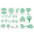 collection of green tree logos and icons vector image