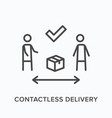 contactless delivery line icon outline vector image vector image