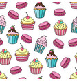 cupcake and macaroon background seamless pattern vector image