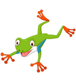 Cute cartoon leaping frog vector image