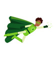 ecological black superhero man in green costume vector image vector image