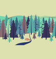 fox lay down beside river in pine forest vector image vector image