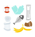 garbage set rubbish icon collection trash sign vector image vector image