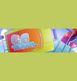 go travel banner with luggage bags and suitcase vector image