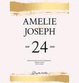 golden brush tender simple wedding card vector image vector image