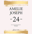 golden brush tender simple wedding card with vector image vector image