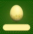 greeting card with easter egg green vector image vector image