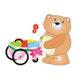Happy teddy bear carry hearts with the wheels vector image