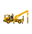 icon drilling truck construction machinery vector image