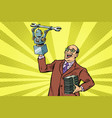 inventor engineer and robot new technology vector image