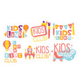 kids land club logo set playiground childrens vector image vector image