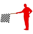 Man waving at the finish of the black white vector image