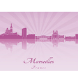 Marseilles skyline in purple radiant orchid vector image vector image