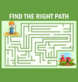 maze game finds the little farmer way get to the f vector image