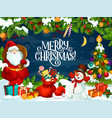 merry christmas poster with santa claus and gifts vector image vector image