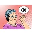 old woman grandma okay gesture vector image vector image
