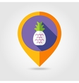Pineapple flat mapping pin icon with long shadow vector image vector image
