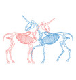 red and blue unicorns skeletons hugging