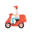 red delivery motor bike with courier express vector image vector image