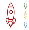 Rocket sign Set of line icons vector image vector image