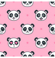 seamless pattern with cartoon funny panda faces vector image vector image
