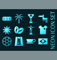 set brazil blue glowing neon icons vector image