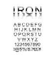 set modern iron alphabet letters vector image vector image