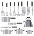 set of silver kitchen utensils vector image