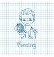 Sketch Boy Fencer vector image vector image
