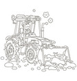 small tractor grader cleaning snow vector image